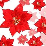 WILLBOND 36 Piezas Flores de Navidad Boda de Artificial de Purpurina de Nuevo Deseo de Festivo Poinsettia Purpurina Adorno de Árbol de Navidad, 3/4/ 6 Pulgadas(Rojo, Estilo B)