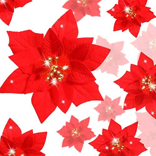 WILLBOND 36 Pieces Glitter Poinsettia Christmas Tree Ornament Christmas Flowers Decor Ornament Artificial Poinsettia, 3/4/6 Inches (Red, Christmas Poinsettia Style)