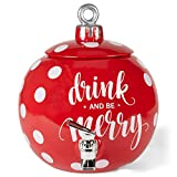 Drink and Be Merry Ball Ornament Rosy Red 11 x 11 Dolomite Ceramic Holiday Beverage Dispenser