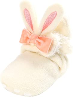 Weixinbuy Newborn Baby Boy's Girl's Shoes Fleece Booties Ear Style Bowknot Soft Sole Anti-Slip Winter Warm Snow Boots