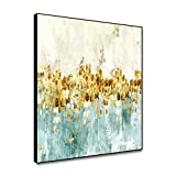 shensu Framed Wall Art Abstract Gold Foil Prints on Canvas Poster Gradient Oil Painting Minimalist Nordic Style Wall Decor for Living Room Bedroom Bathroom Office Modern Home Decoration 12x12inch