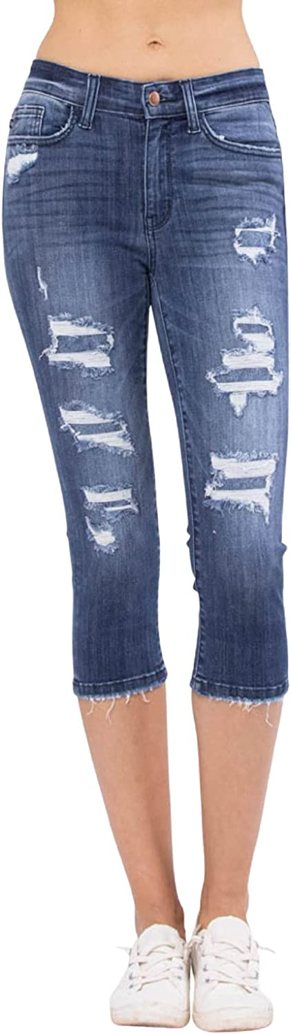Judy Blue Contrast Patch Mid-Rise Skinny Capris! The Capris You Want! (Style: 82271)