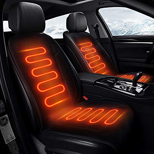 Heated Seat Cushion, 12V Car 24V /32WTruck Seat Heaterheated seat Covers for Cars Warmer - Heated Seat Cover Fit for Auto Supplies Home Office (Pad) (Black)