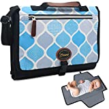 Portable Diaper Changing Pad for Baby Boy & Girl – 2 in 1 Travel Nappy Changing Mat and Diaper Clutch Bag Built-in Thick Soft Cushion Pillow with Multiple Pockets –Black Blue Grey Trellis Pattern