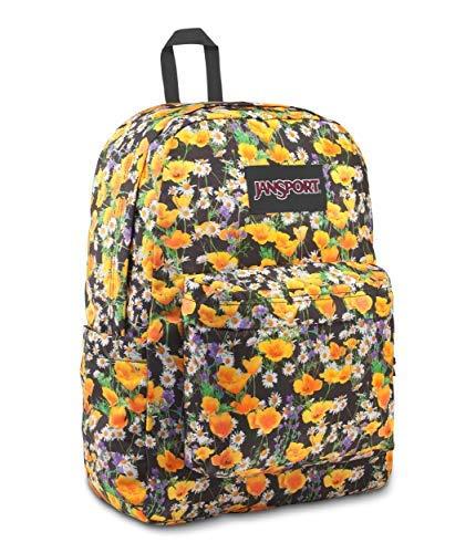 JanSport Superbreak Plus - Mochila escolar, trabajo, viaje o portátil con bolsillo para botella de agua, amapolas Sunshine