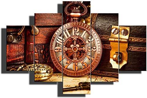 Lienzo Arte de la pared Mapa de la vendimia Pinturas de fondo Obras de arte para las paredes del hogar Imágenes de reloj de bolsillo antiguo 5 piezas Arte de la pared de la lona para la sala de e