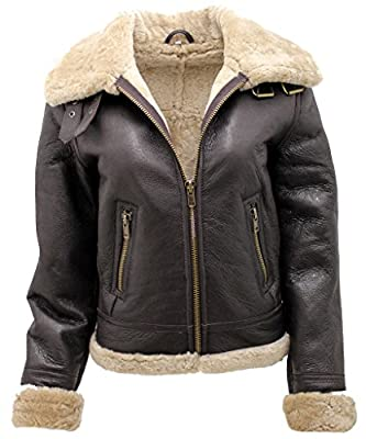 Women's Brown B3 WW2 Ginger Real Thick Sheepskin Leather Flying Jacket 2XL