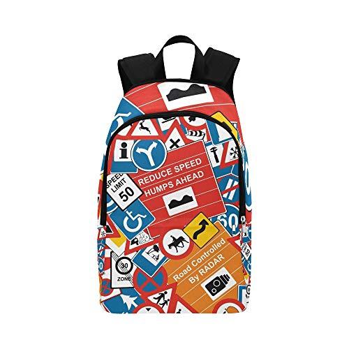Señales de tráfico Stock Illustration Casual Daypack Travel Bag College School Mochila para Hombre y Mujer