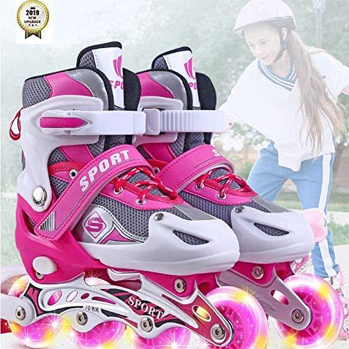 Wedsf Komfortable Skates Kinder Inlineskates Verstellbar Rollerskates Für Kinder Leichtes Anziehen Atmungsaktiv Inliner Mädchen Im Ferrari Design Schwarz,M