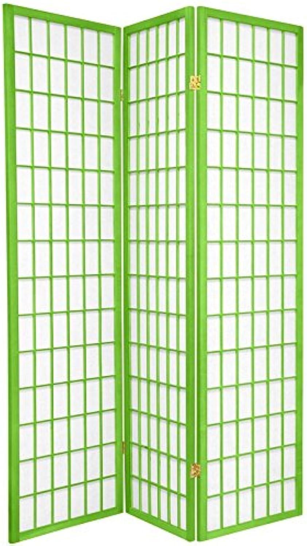 Oriental Furniture 6-Feet Window Pane Japanese Shoji Folding Privacy Screen Room Divider, 3 Panel Lime Green