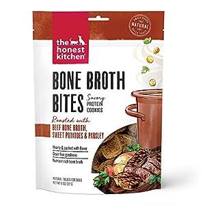 The Honest Kitchen Bone Broth Bites Dog Treats – Savory Protein Cookies, 8 oz. Bag