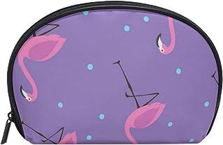 MASSIKOA Purple Flamingos Blue Dots Cosmetic Bag Travel Handy Organizer Pouch Makeup Bags Purse for Women Girls