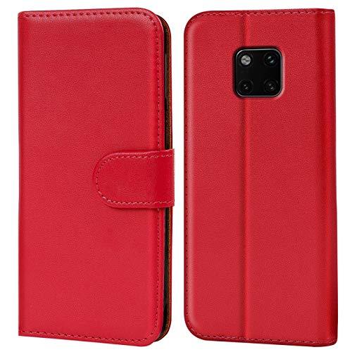 Verco Mate 20 Pro Hülle, Handyhülle für Huawei Mate 20 Pro Tasche PU Leder Flip Hülle Brieftasche - Rot