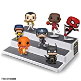 ASH BRAND Plastic Riser Display Stand Shelf for Figures, Toys or Dolls | 3 Steps Display for Decoration and Organizer, 3-Tier, 80's Cartoons Love Design (14x9.5 inch)