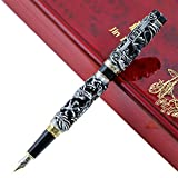 JinHao Fountain Pen Dragon Phoenix 18KGP Nib Vintage Signature Calligraphy Ink Pens with Luxury Case Set