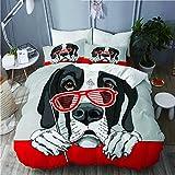 Kgblfd Juego de Ropa de Cama 3 Piezas Microfibra,Perro Gran danés con una Parrilla roja Gafas fotomatón,1 Funda Nórdica y 2 Funda de Almohada (Cama 140x200)