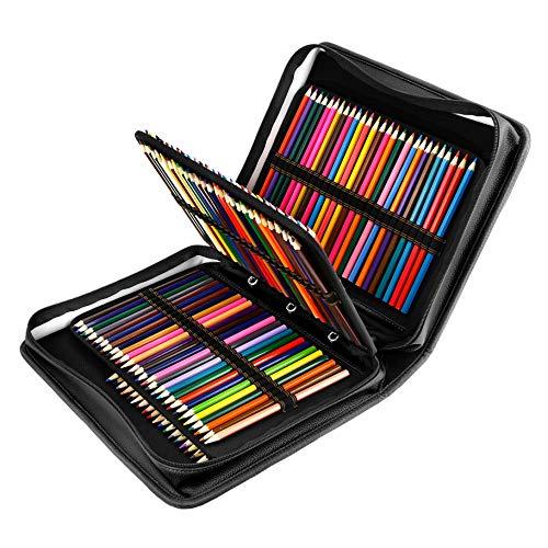 YOUSHARES Estuche 180 ranuras de color lápiz caso tela de PU gran capacidad pluma/lápiz organizador con correa para lápices de acuarela, plumas de gel (Negro)