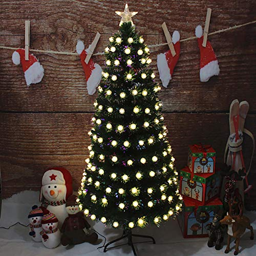 DULPLAY Artificial Christmas Tree with LED Lights PVC Optical Fiber Tree with Top Star Metal Stand Unlit Pre-Decorated-a 5Ft(150cm)