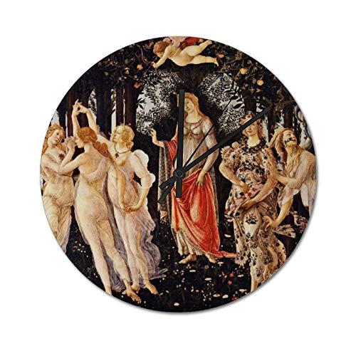 Pealrich Botticelli La Primavera - Reloj de pared silencioso, sin garrapatas, 25 x 25 cm, reloj de primavera rústico de casa de granja