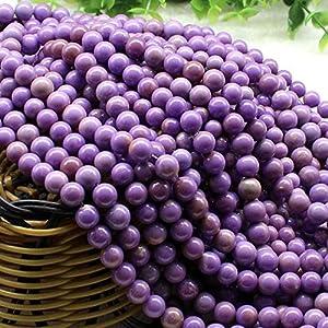 [ABCgems] American Violet Phosphosiderite (Combination of Phosphorus and Iron- Mohs Hardness 4) Tiny 6mm Smooth Round Natural Semi-Precious Gemstone Healing Energy Beads (Light Purple)