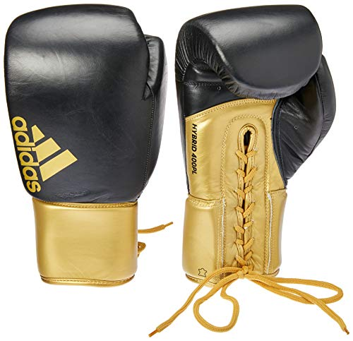 adidas Hybrid 400 PRO Lace Leather Fight Sparring Training Gym Boxing Gloves, Guanti da Boxe in Pelle con Pizzo Unisex-Adulto, Oro, 16 oz