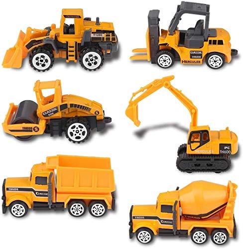 Baufahrzeuge Spielzeug, 6 Stück Baby Bagger Spielzeug Baufahrzeuge, Baufahrzeuge Set Spielzeug Geschenkset für Kinder Bildung Spiel Lernen Geschenk für Kindertag, Ostern, Weihnachten, Geburtstag