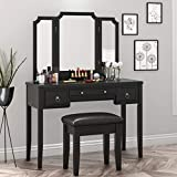 SHA CERLIN Makeup Vanity Table and Cushioned Stool Set, Bedroom Vanity Desk with Large Tri-fold Mirror for Women Girls, Dressing Table with 3 Storage Drawers, Black