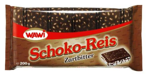 WAWI Schoko Reis Tafel in Zartbitter Schokolade, 8er Pack (8 x 200 g)