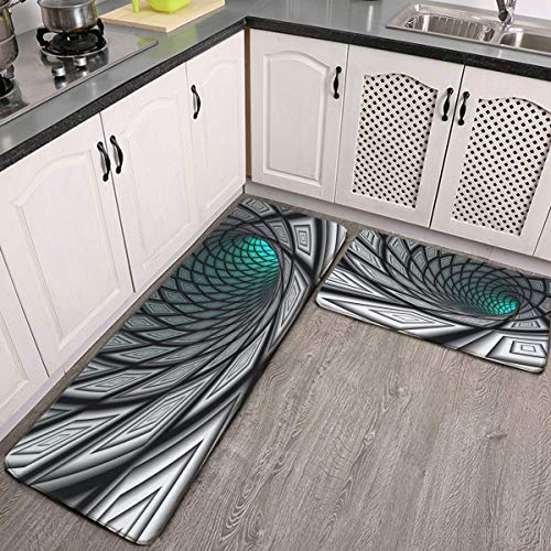 Kitchen Mat 2 Pcs Cushioned Anti-Fatigue Kitchen Rug 3D Tunnel Hole Abstract Optical Illusion Waterproof Non-Slip Kitchen Mats and Rugs Ergonomic Comfort Standing Foam Mat for Kitchen