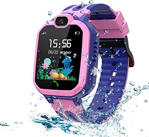LDB Kinder Smartwatch Telefon, Wasserdicht Phone LBS Tracker Mikrochat SOS Taschenlampe Mathe Spiel Wecker Touchscreen (pink)