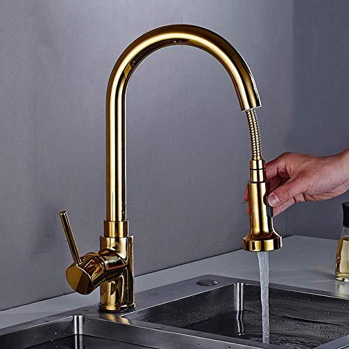 FWZZQ Ausziehbar Küchenarmatur Gold Wasserhahn Küche mit Herausziehbarer Geschirrbrause Spültischarmatur Einhebel Mischbatterie Spüle Armatur 360° Schwenkbarer aus Messing