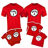 Onesie and Toddler Thing 1,2,3,4,5,6,7,8,9,10 Funny T-Shirts (XS Youth 4-5, Thing 1) Red