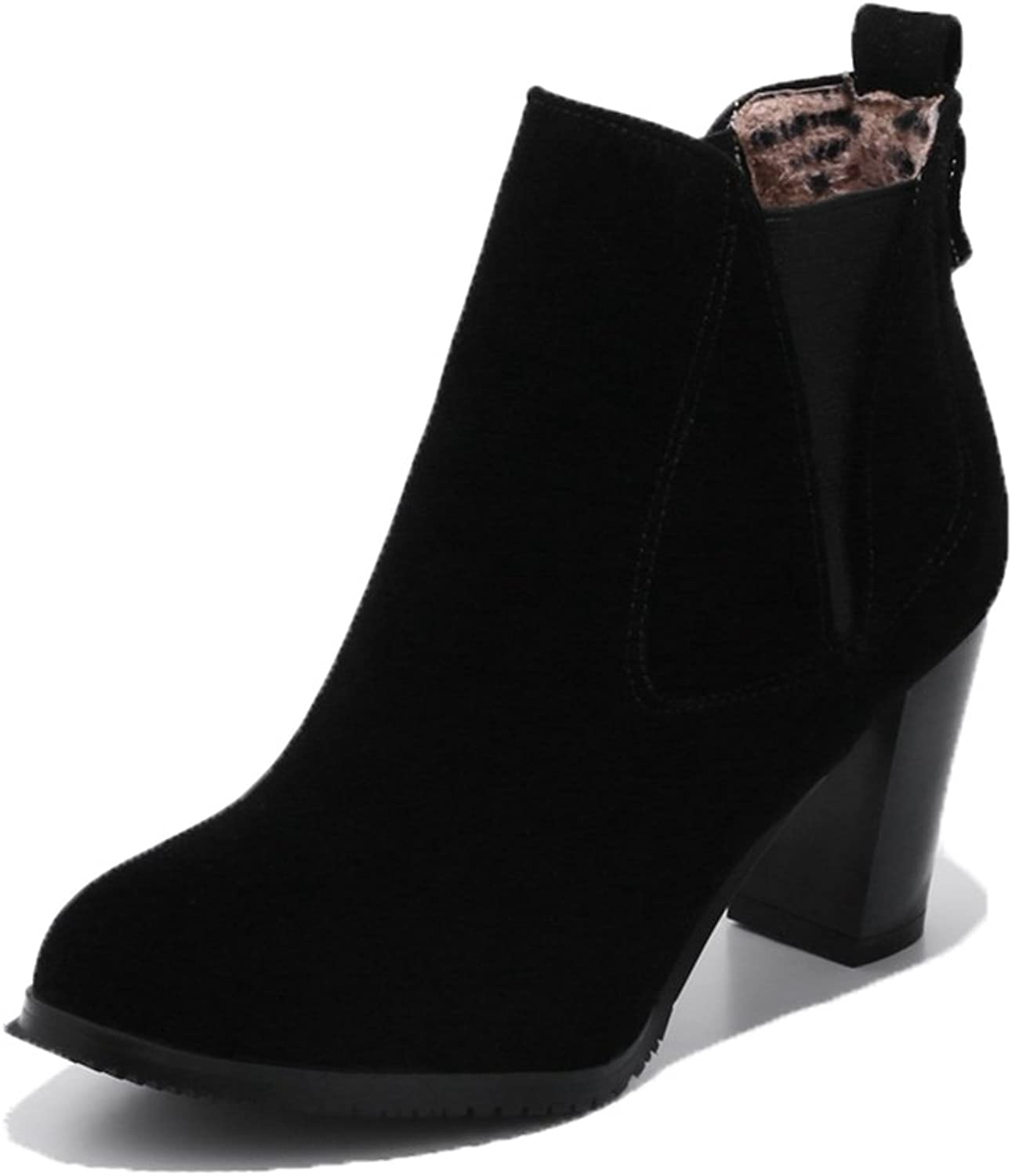 SaraIris Women's Chunky High Heel Comfortable shoes Casual Ankle Boots