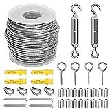 Kit Suspensión de Cuerda, 25M Cable de Acero Inoxidable, Tensores Alambre, Cable de Acero Galvanizado de...