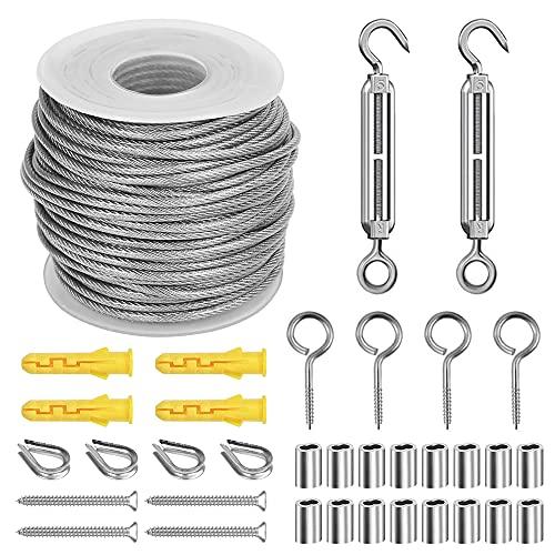 Kit Suspensión de Cuerda, 25M Cable de Acero Inoxidable, Tensores Alambre, Cable de Acero Galvanizado de Alambre kit de Cable Recubierto, Alambre de la Cerca de Imagen Suspensión, Tendedero Exterior