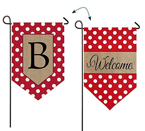 "Evergreen Polka Dot Welcome ""B"" Monogram Double-Sided Burlap Garden Flag - 12.5""W x 18"" H"
