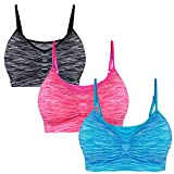 Libella Pack de 3 Sujetadores Deportivos Brasieres para Dama Confortables sin Tiras Apto para Dormir para Deportes Costura 3749 Gris+Rosa+Azul Claro L/XL