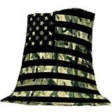 Camo Throw Blanket Warm Fuzzy Plush Bed Blanket Fleece 40x50 Inch Flannel Blanket Camouflage American Flag Theme Stripes Lightweight Blanket Throw for Sofa Bed Couch