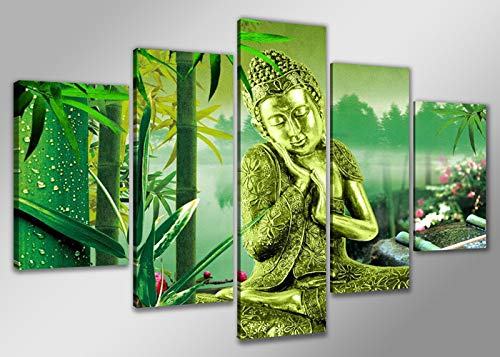 Schilderij Boeddha en bamboe 160x80cm, 5 luik - Canvas - Muurdecoratie