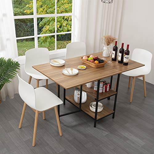 KOTPOP Folding Dining Table, Drop Leaf Folding Extension Dinning Table for Kitchen, Farmhouse Room, Space Saving Table with 2 Storage Racks and 2 Wheels, Natural