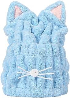 Beaupretty Touca toalha de secagem de cabelo em forma de gato de coelho ultramacio e absorvente de secagem rápida chapéu d...