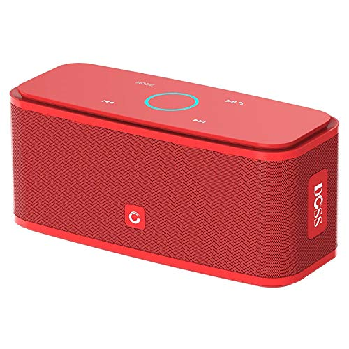 DOSS SoundBox Touch Portable Wireless Bluetooth Speakers with 12W HD Sound and Bass, 20H Playtime, Handsfree, Speakers for Home, Outdoor, Travel-Red