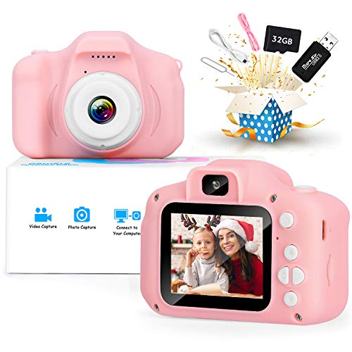 Kids Camera, Upgrade Digital Cameras with HD 1080P Video for 3 4 5 6 7 8 Year Old Girls and Boys, Christmas Birthday Gifts Toy for Child, Dual Lens Camera with 32GB SD Card.
