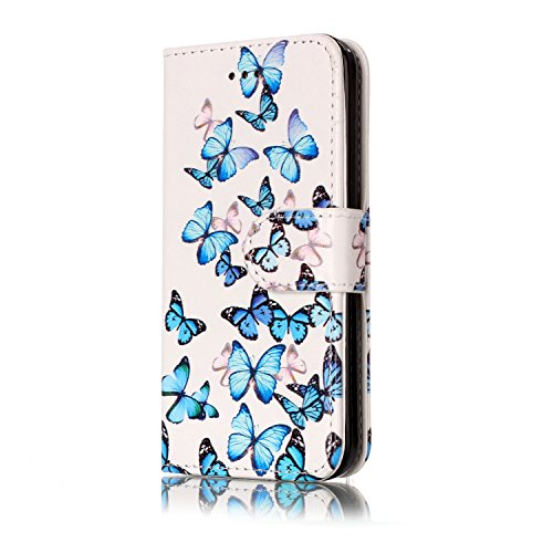 Funda Compatible IPhone 5c.KunyFond Carcasa Marmol Soft Leather Billetera Cuero Flip Cover Case Ranuras Tarjetas Cartera Cierre Magnetico Impresion Premium Funcion Stand Bumper-Pequena mariposa azul