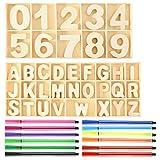 Lettere Legno e Numeri in Legno Set 216 Pezzi, Alfabeto in Legno per Bambini Dipinto, Cartone in Legno per Artigianato Artistico Decorazioni per Esposizione di Nozze Fai-da-Te, con 12 Pezzi Pastelli