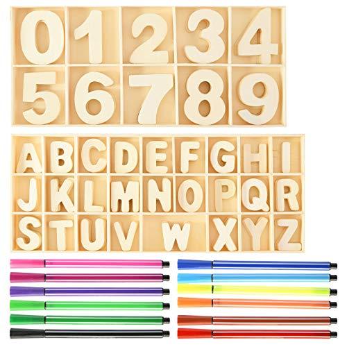 Pajaver Holz Buchstaben und Zahlen Alphabet, Dekorative Holznummern 0-9 (60Stk) Holzbuchstaben A-Z(216Stk), Exquisites Dekoratives Set mit 12Stk Pinselstift für Kunst und Handwerk DIY Dekoration