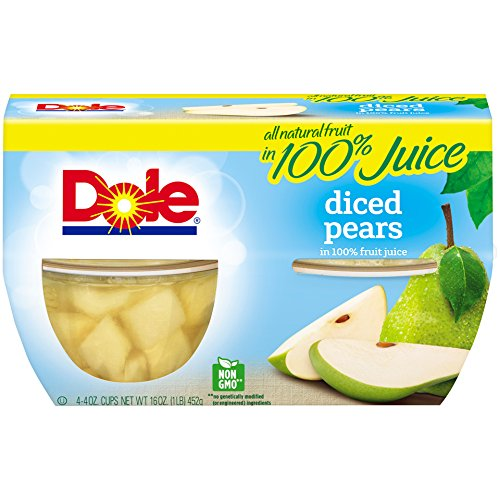 Dole Fruit Bowls, Diced Pears in 100% Juice, 4 Cups (Pack of 6)