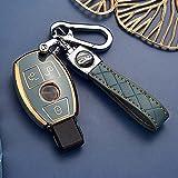 HIBEYO Funda para llave de coche inteligente compatible con Mercedes Benz Clase A B C E G S R Clase CLA GLA CLK GLC GLE GLS SL SLK Llavero caja azul