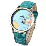 Leopard Shop - Reloj de pulsera de cuarzo con esfera de mapamundi (correa de piel),...