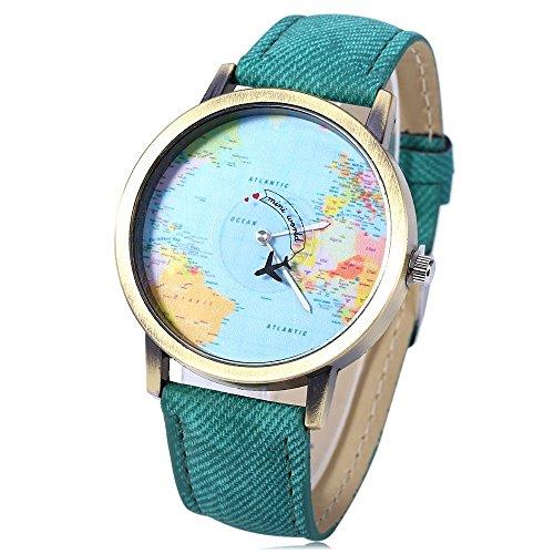 Leopard Shop Reloj de pulsera de cuarzo con esfera de mapa del mundo de cuero verde